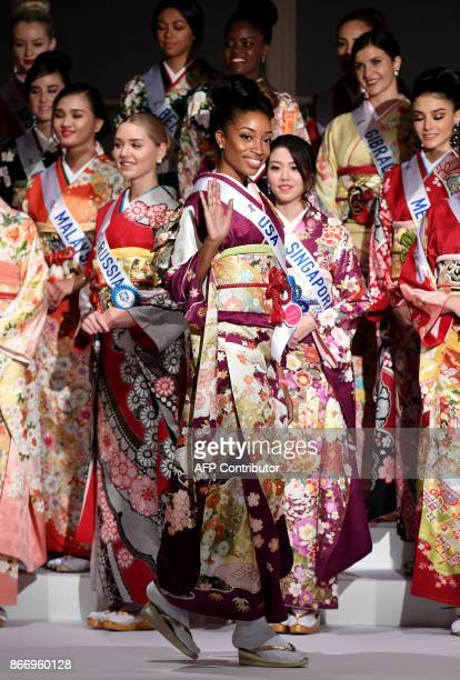 Miss USA Shanel James poses in a traditonal Japanese Kimono during the 57th Miss International Beauty Pageant press conference in Tokyo on October 27...