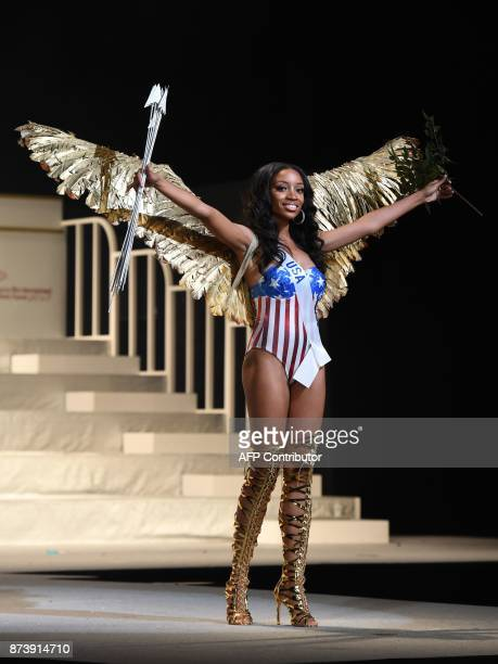 Miss USA Shanel James shows off her national costume during the Miss International Beauty Pageant final in Tokyo on November 14 2017 / AFP PHOTO /...