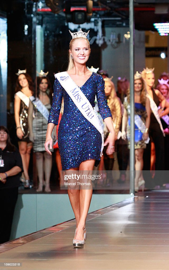 Miss Utah Kara Arnold is introduced at the 2013 Miss America Pageant meet and greet fashion show at the Fashion Show mall on January 5, 2013 in Las Vegas, Nevada.