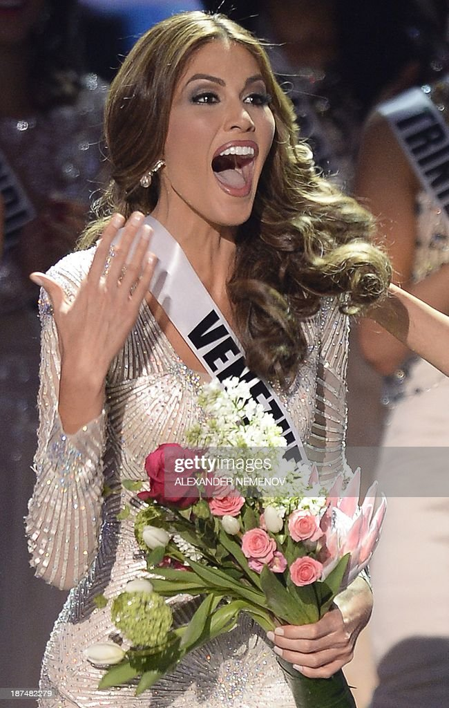 Miss Venezuela Gabriela Isler reacts during the 2013 Miss Universe competition in Moscow on November 9, 2013. Gabriela Isler, a 25-year-old Venezuelan television presenter, was crowned Miss Universe in Moscow in a glittering ceremony. Judges including rock star Steven Tyler from Aerosmith picked the winner from a total of 86 contestants at the show, watched by several billion viewers around the world.