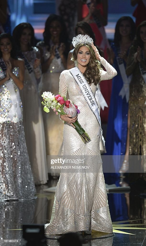Miss Venezuela Gabriela Isler reacts during the 2013 Miss Universe competition in Moscow on November 9, 2013. Gabriela Isler, a 25-year-old Venezuelan television presenter, was crowned Miss Universe in Moscow in a glittering ceremony. Judges including rock star Steven Tyler from Aerosmith picked the winner from a total of 86 contestants at the show, watched by several billion viewers around the world. AFP PHOTO / ALEXANDER NEMENOV