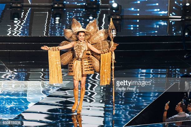 Miss Vietnam shows off her national costume at the Arena in Pasay City Candidates from different countries showed off their national costumes during...