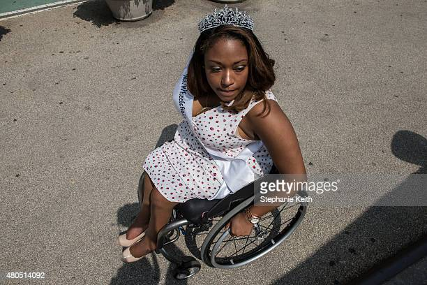 Miss Wheelchair New York prepares to participate in the first annual Disability Pride Parade on July 12 2015 in New York City The parade calls...