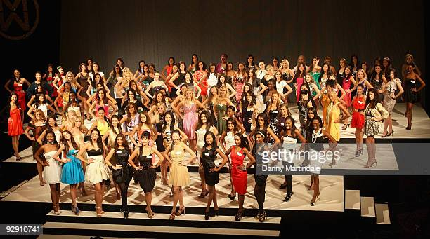 Miss World 2009 contestants attends photocall for the contestants of Miss World 2009 at Grosvenor House on November 9 2009 in London England