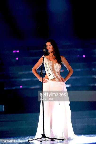 Miss World 2009 Finalist Miss Gibraltar Kaiane Aldorino responds to a question by the panel of judges at Gallagher Convention Centre on December 12...
