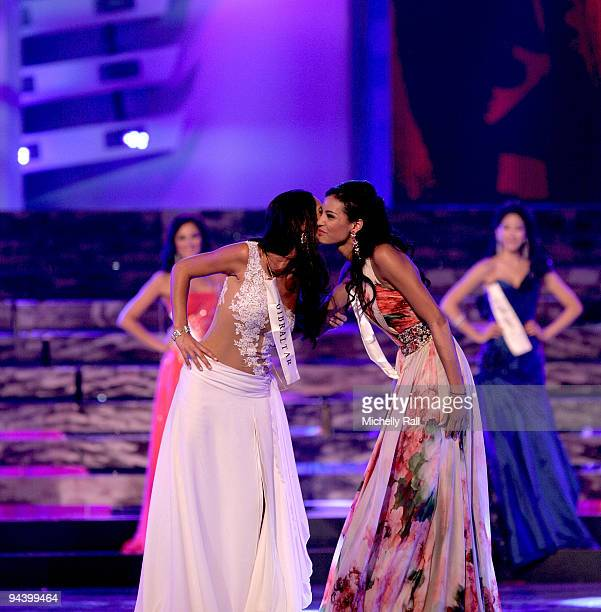 Miss World 2009 Finals sees Miss Gibraltar Kaiane Aldorino kissing Miss France Chloe Mortaud on stage at the Gallagher Convention Centre on December...