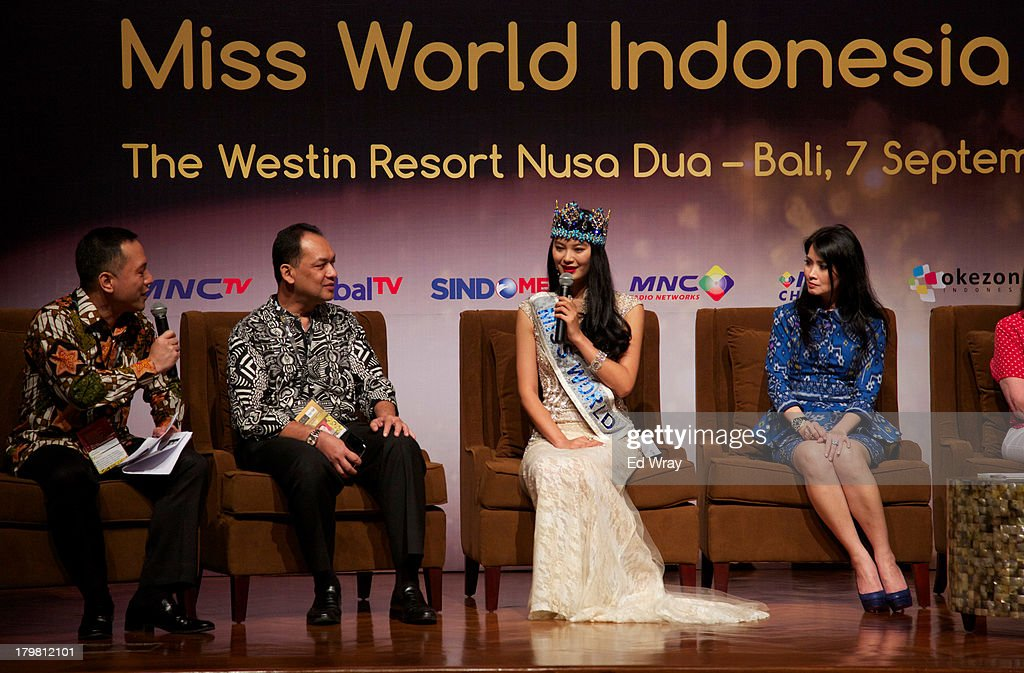Miss World 2012 China's Wenxia Yu speaks during the opening press conference during the 2013 Miss World Pageant on September 7, 2013 in Denpasar, Bali, Indonesia. The Miss World contest has been protested by conservative Indonesian Muslim groups who object particularly to the Bikini swimwear portion of the competition which organizers have agreed to replace this year with a more modest beachwear competition including tradtional Indonesian batik sarongs.