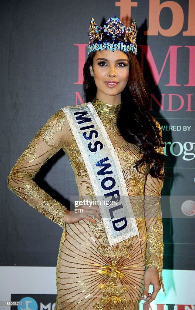 Miss World 2013 Megan Lynne Young from the Philippines attends the 'Femina Miss India 2014' grand finale in Mumbai on April 5, 2014. AFP PHOTO