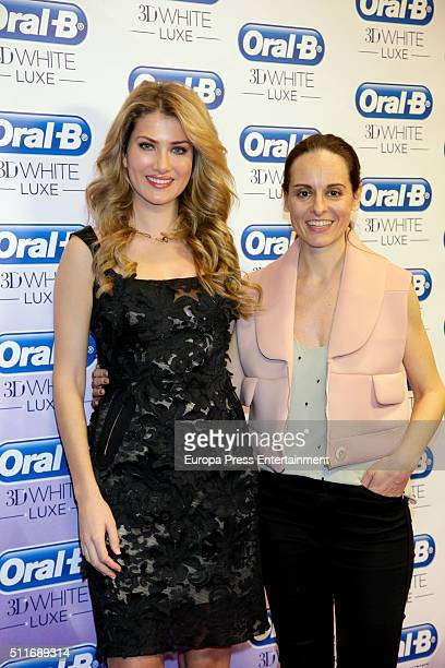 Miss World 2016 Mireia Lalaguna and Ana Locking attend OralB campaign during the MercedesBenz Madrid Fashion Week Autumn/Winter 2016/2017 at Ifema on...