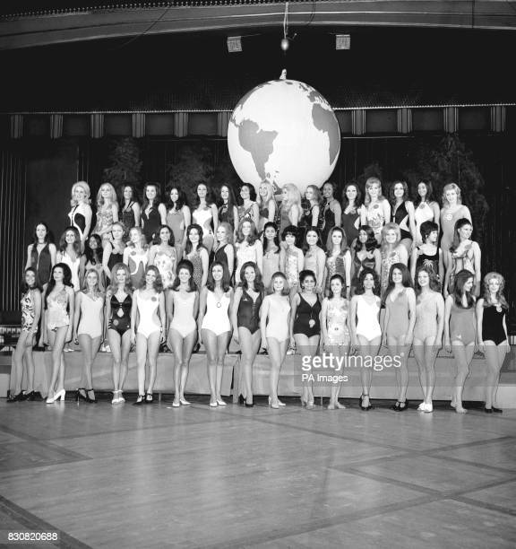 Miss World contestants at the Empire Leicester Square London Gaily Ryan Alicia Beatriz Daneri Maria Elizabeth Bruin Valerie Roberts Waltraud Lucas...