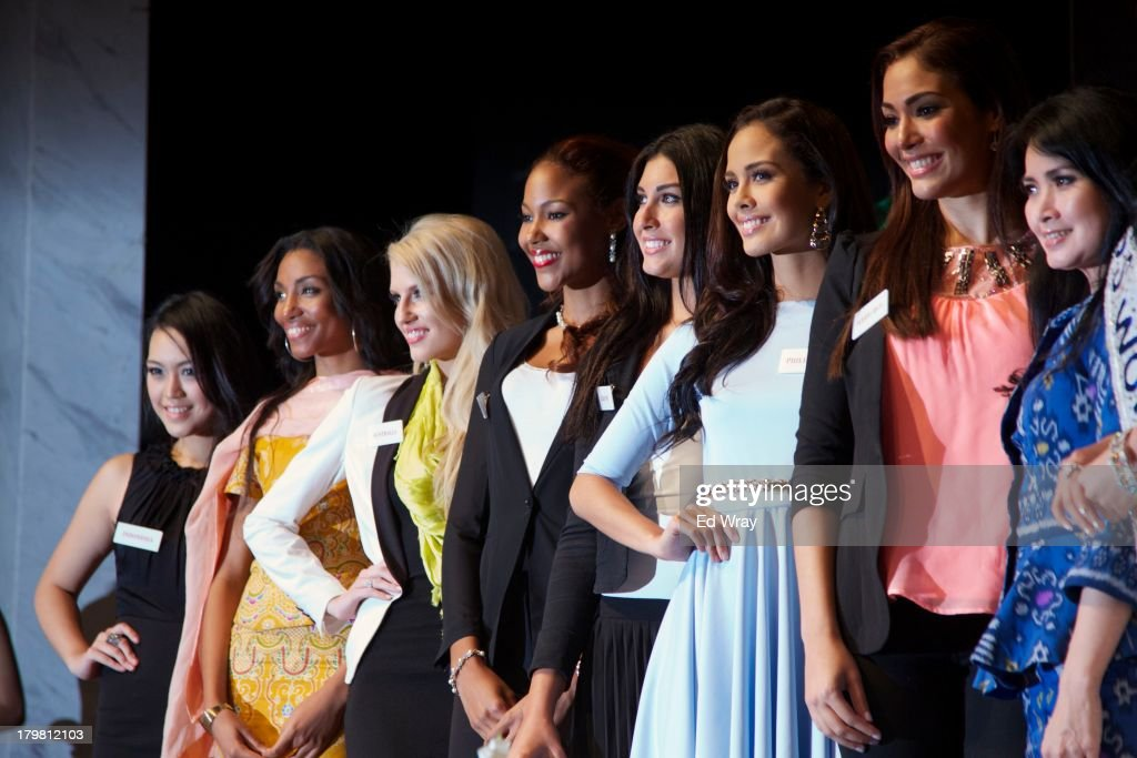 Miss World contestants from left to right: Miss Indonesia, Miss Cameroon, Miss Australia, Miss Jamaica, Miss Lebanon, Miss Philippines, Miss Puerto Rico and Mrs. Liliana Tanoesoedibjo, the head of the Miss Indonesia contest attend the opening press conference during the 2013 Miss World Pageant on September 7, 2013 in Denpasar, Bali, Indonesia. The Miss World contest has been protested by conservative Indonesian Muslim groups who object particularly to the Bikini swimwear portion of the competition which organizers have agreed to replace this year with a more modest beachwear competition including tradtional Indonesian batik sarongs.
