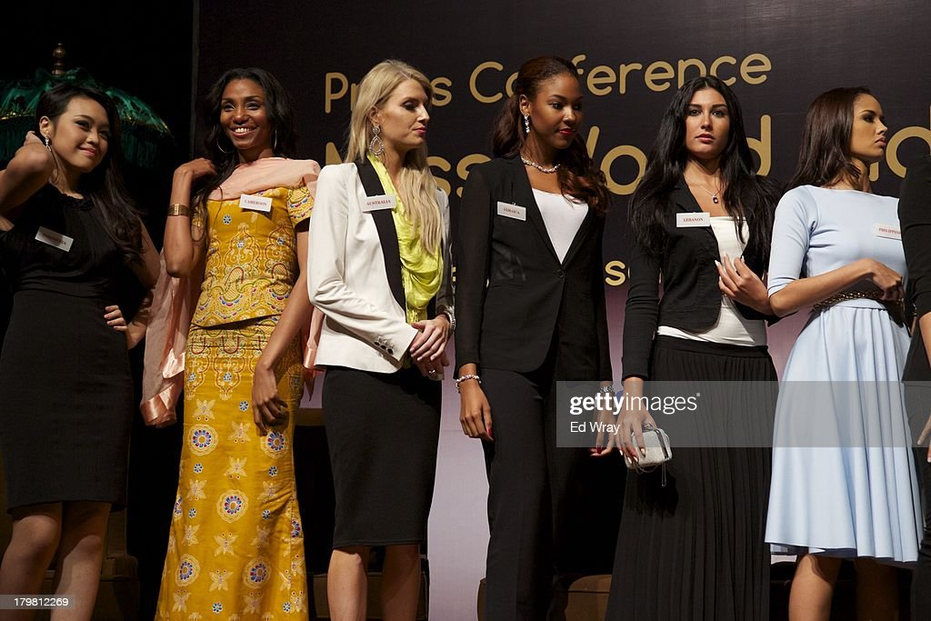 Miss World contestants from left to right: Miss Indonesia, Miss Cameroon, Miss Australia, Miss Jamaica, Miss Lebanon and Miss Philippines attend the opening press conference during the 2013 Miss World Pageant on September 7, 2013 in Denpasar, Bali, Indonesia. The Miss World contest has been protested by conservative Indonesian Muslim groups who object particularly to the Bikini swimwear portion of the competition which organizers have agreed to replace this year with a more modest beachwear competition including tradtional Indonesian batik sarongs.