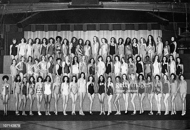 Miss World contestants line up in swimwear in London 15th November 1976 From left to right Misses Africa South Argentina Aruba Australia Austria...