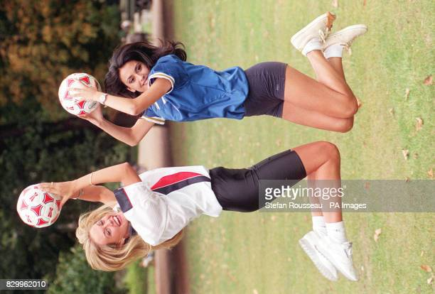 Miss World contestants Miss England VickiLee Walberg and Miss Italy Irene Lippi in London today to show support for their national teams who meet in...