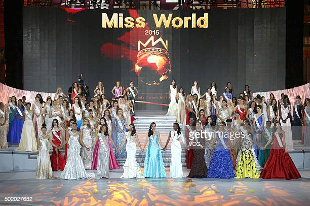 Miss World contestants perform onstage during the Miss World Grand Final on December 19 2015 in Sanya Hainan Province of China