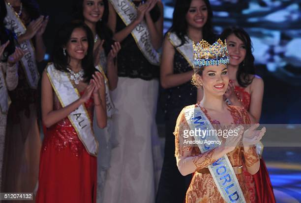 Miss World Mireia Lalaguna from Spain attends the grand final of the Miss Indonesia 2016 beauty contest in Jakarta Indonesia