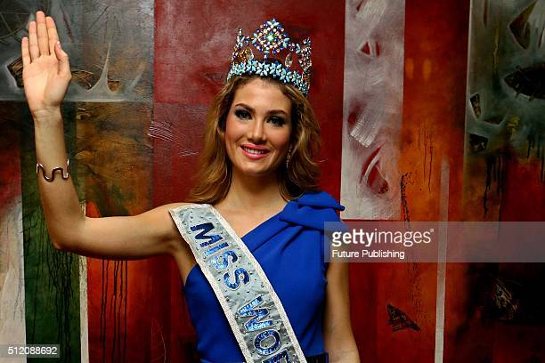 Miss World Mireia Lalaguna Royo poses to journalist before attending the final round of Miss Indonesia 2016 on February 24 2016 in Jakarta Indonesia...