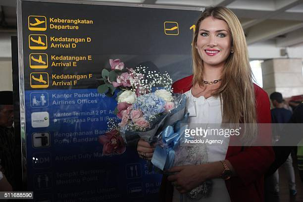 Miss World Mireia Lalaguna Rozo arrive in Soekarno Hatta International Airport Tangerang near Jakarta Indonesia on February 22 2016 to attend the...