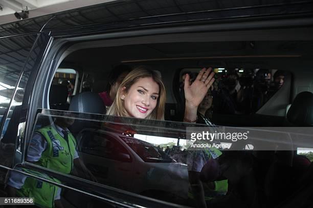 Miss World Mireia Lalaguna Rozo arrive in Soekarno Hatta International Airport Tangerang near Jakarta Indonesia on February 22 2016 to attend the...