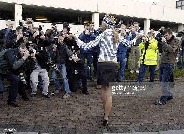 Miss World Rosanna Davison arrives home at Dublin Airport after winning the Miss World Competition in China December 11 2003 in Dublin Ireland