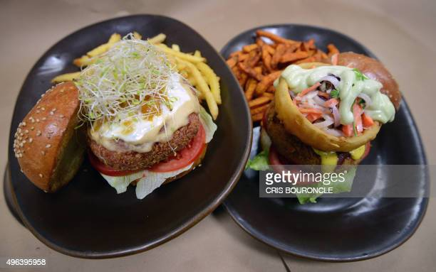 A Miss World veggie burger a quinoabased croquette combined with lentils beets lima beans and yogurt dip decorated with lettuce tomato and mango...