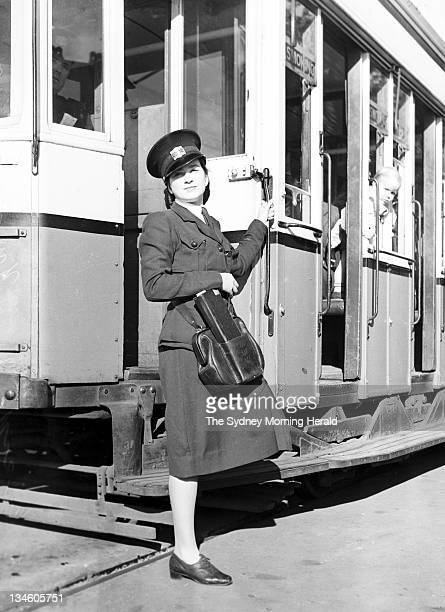 Miss Young works as a tram conductor a job that until World War II had been carried out by men The tram is stopped at Robertson Road in Sydney 29 May...