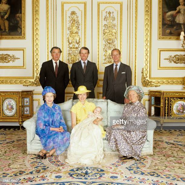 Miss Zara Phillips on the occasion of her Christening at Windsor Castle on 27th July 1981 with her parents and grandparents Front row HM The Queen...