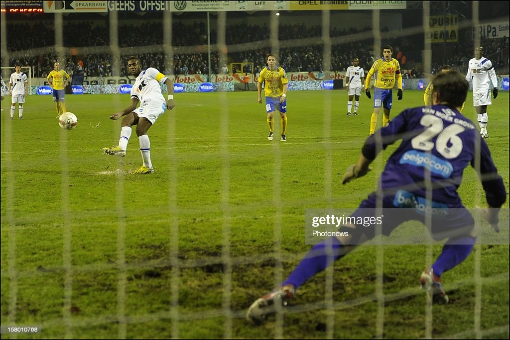 Missed penalty of Mboyo Ilombe of KAA Gent during the Jupiler League match between KAA Gent and Waasland - Beveren on December 08, 2012 in the Otten stadium Gent, Belgium.