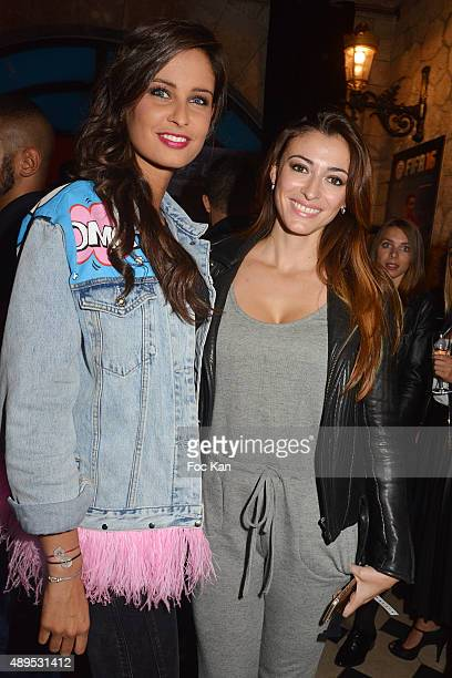 Misses France Malika Menard and Rachel Legrain Trapani attend the 'FIFA 16 Live Event' at the Faust Club on September 21 2015 in Paris France