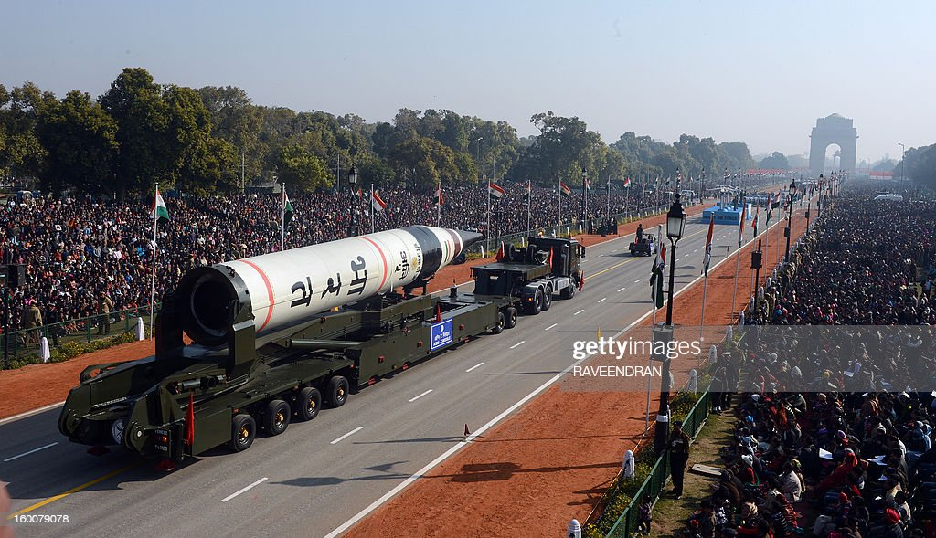 Missile Agni V is displayed during the Republic Day parade in New Delhi on January 26, 2013. India marked its Republic Day with celebrations held under heavy security, especially in New Delhi where large areas were sealed off for an annual parade of military hardware at which Bhutan's king Jigme Khesar Namgyel Wangchuck was chief guest. AFP PHOTO/RAVEENDRAN