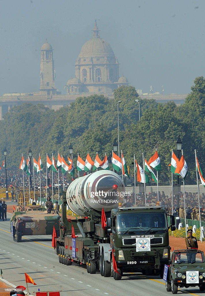 Missile Agni V is displayed during the Republic Day parade in New Delhi on January 26, 2013. India marked its Republic Day with celebrations held under heavy security, especially in New Delhi where large areas were sealed off for an annual parade of military hardware at which Bhutan's king Jigme Khesar Namgyel Wangchuck was chief guest.
