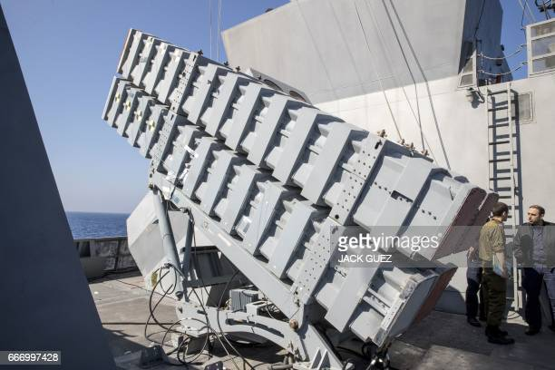 Missile boxes 'Gabriel' are seen onboard the Israeli vessel Saar 5 Class Corvette 'INS Hanit' during the 'Novel Dina 17' training session in the...