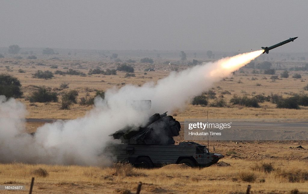 Missile during the exercise Iron Fist -2013 at firing range in Pokhran on February 22, 2013 in Jaisalmer, India.