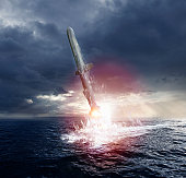 Missile launch from a submarine