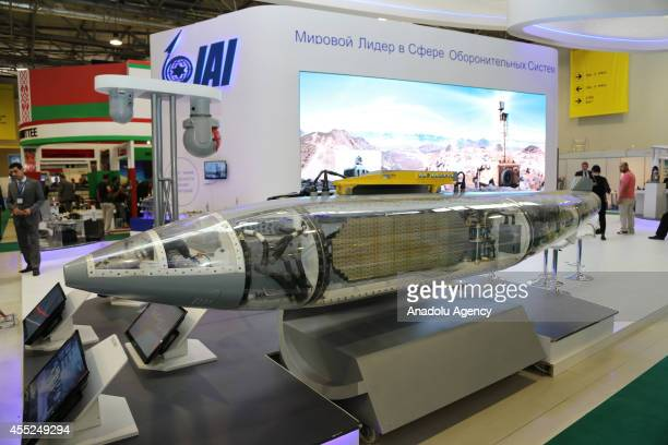 A missile of Israel Aerospace Industries is exhibited during Azerbaijan International Defense Industry Exhibition at the Baku Expo Center in Baku...