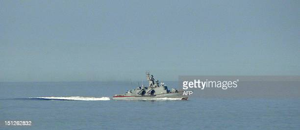 A missile ship of Turkmenistan's navy takes part in an antiterrorist naval exercise on the Caspian sea coast about 60 km from the town of...