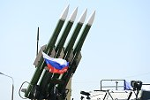 Missile system BukM23 is seen during the Moscow International Aviation and Space Salon MAKS2015 in the city of Zhukovsky outside Moscow Russia on...