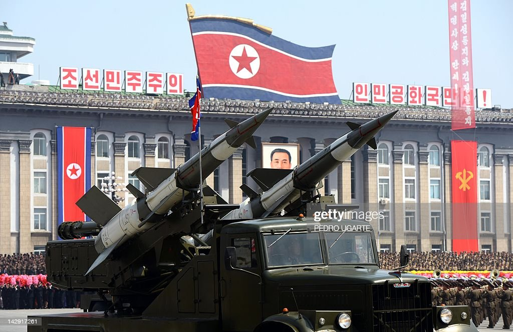 Missiles are displayed during a military parade to mark 100 years since the birth of the country's founder Kim IlSung in Pyongyang on April 15 2012...