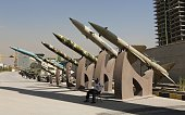 Missiles are displayed during an exhibition on the 198088 IranIraq war as part of the 'Sacred Defense Week' commemorating the 8year war on September...