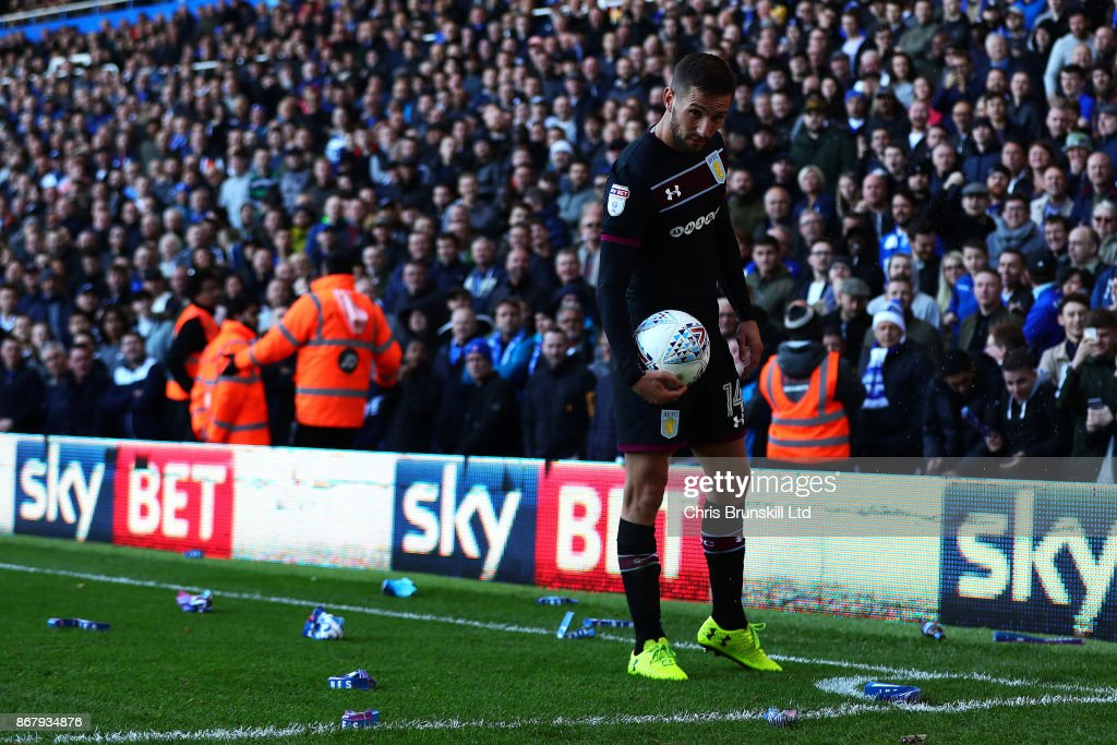 Missiles are thrown towards Conor Hourihane of Aston Villa during the Sky Bet Championship match between Birmingham City and Aston Villa at St Andrews (stadium) on October 29, 2017 in Birmingham, England.