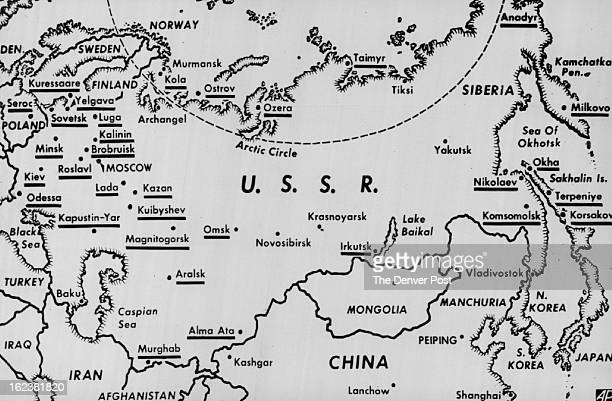 MAY 16 1961 Missiles * Russia * General There may be Soviet Missile launching pads at each underlined point This map based on one appearing in May...