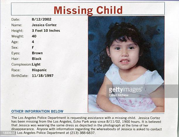 A missing child flyer shows 4yearold Jessica Cortez who disappeared on the previous evening at the inner city Echo Park on August 12 2002 in Los...