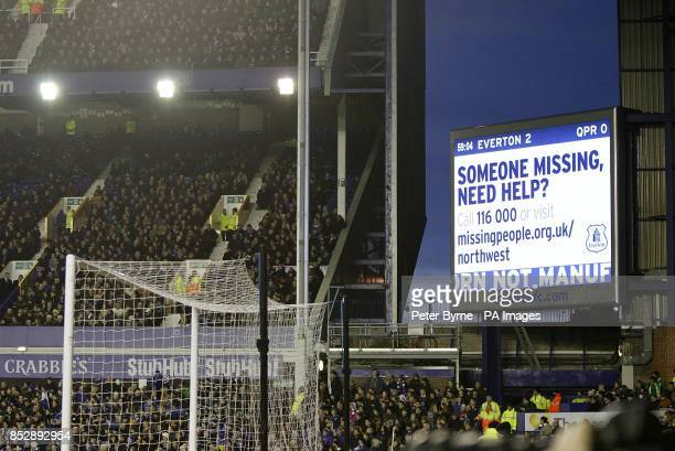 Missing People messages are shown on the giant screen at half time