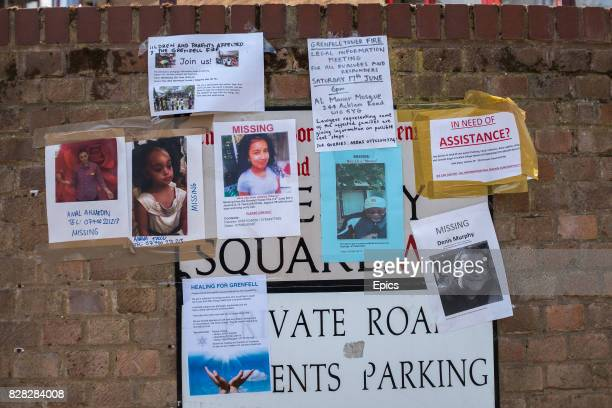 Missing people signs near to the site of Grenfell Tower North Kensington London England 79 people are presumed dead and dozens still missing after...