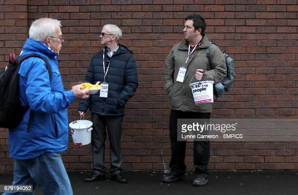 'Missing People' volunteers collecting donations in the Fanzone before the match