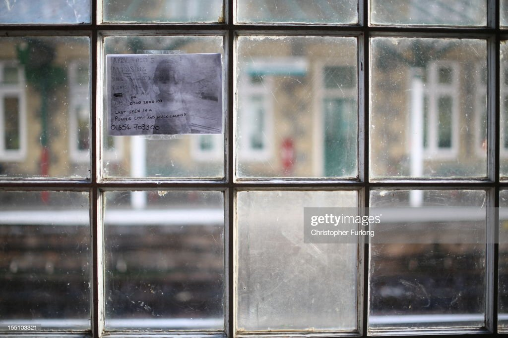 A missing persons notice asking for information relating to the disappearance of missing 5 year old April Jones is displayed in a window at Machynlleth Railway Station on November 1, 2012 in Machynlleth, Wales. Coral and Paul Jones, the parents of missing April, have thanked the public for their 'kind words and sentiments' which have provided support in the month that has passed since her abduction.