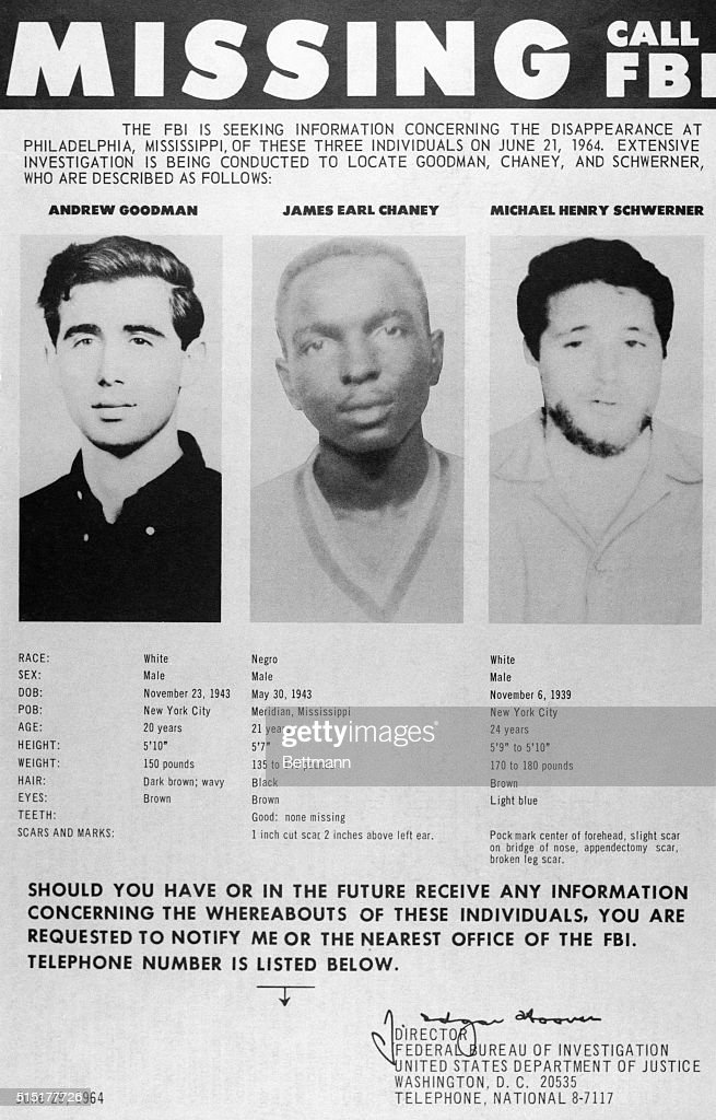 Poster Of Missing Civil Rights Workers Pictures – Missing Persons Poster