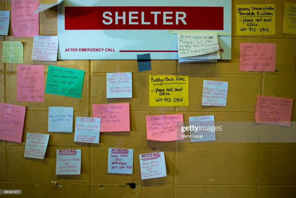 A Missing Persons wall on September 2, 2005 at the Jackson Convention Center in Jackson, Mississippi where victims took refuge from Hurricane Katrina. Shelters in Mississippi are accomodating refugees from states including Lousianna. Mississippi confirmed death toll was over 120 by Thursday as more rescue teams combed the devasted areas.