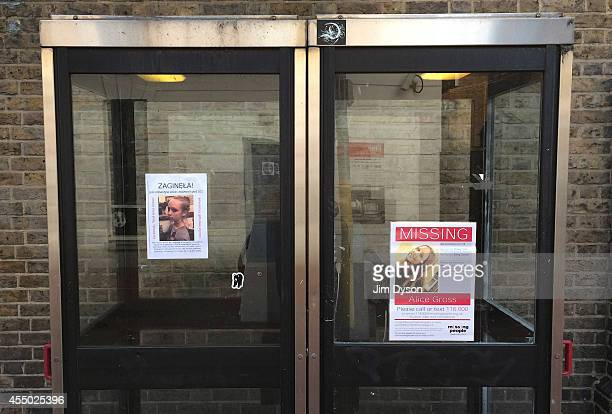 Missing posters for schoolgirl Alice Gross in Polish as well as English in Ealing Broadway on September 9 2014 in London England Fourteenyearold...