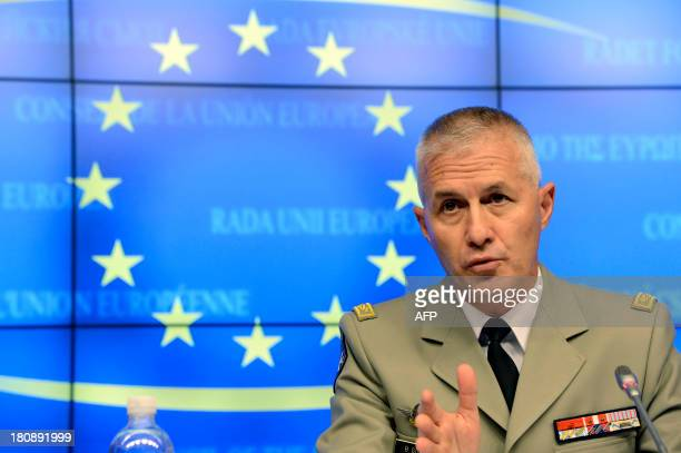 Mission Commander of the European Union Training Mission in Mali Brigadier General Bruno Guibert of France speaks to the media during a press...